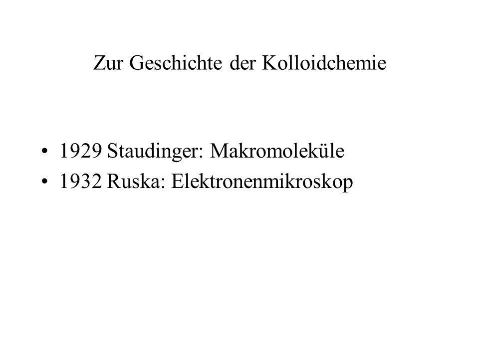 Zur Geschichte der Kolloidchemie 1929 Staudinger: Makromoleküle 1932 Ruska: Elektronenmikroskop