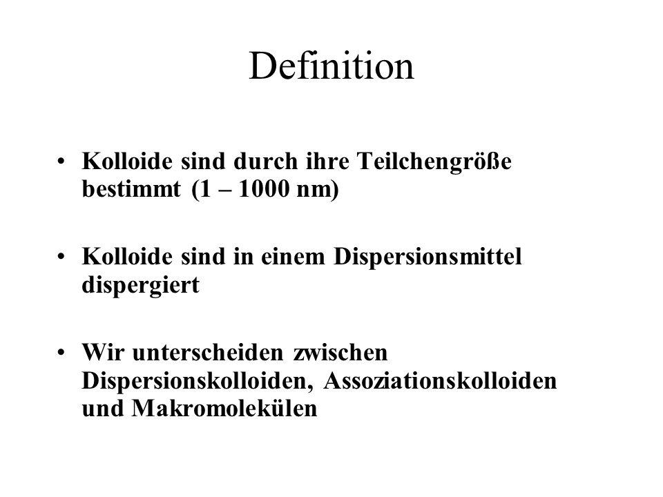 Definition Kolloide sind durch ihre Teilchengröße bestimmt (1 – 1000 nm) Kolloide sind in einem Dispersionsmittel dispergiert Wir unterscheiden zwisch