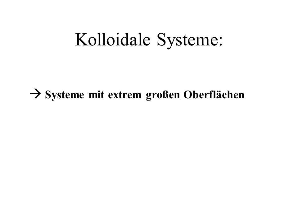 Kolloidale Systeme: Systeme mit extrem großen Oberflächen