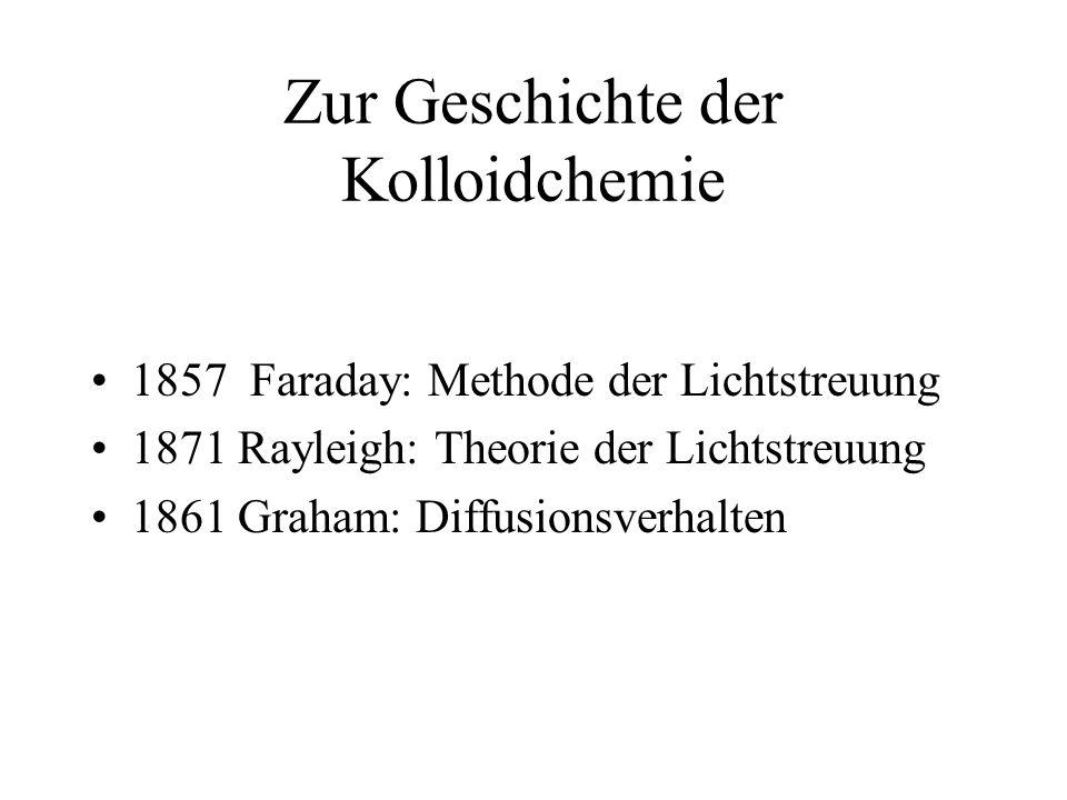 Definition ( nach Graham ) Kolloide sind leimähnliche Substanzen, die sehr langsam diffundieren und nicht dialysieren.