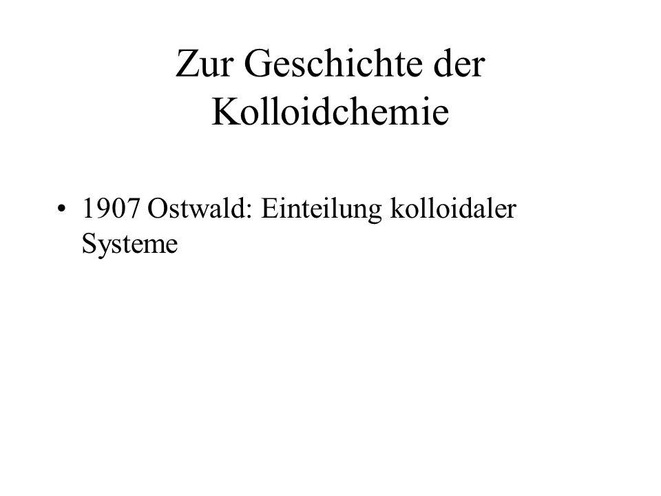 Zur Geschichte der Kolloidchemie 1907 Ostwald: Einteilung kolloidaler Systeme