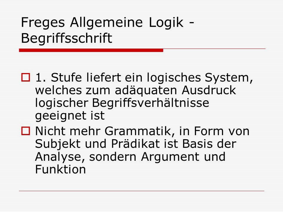 Freges Allgemeine Logik - Begriffsschrift 1. Stufe liefert ein logisches System, welches zum adäquaten Ausdruck logischer Begriffsverhältnisse geeigne
