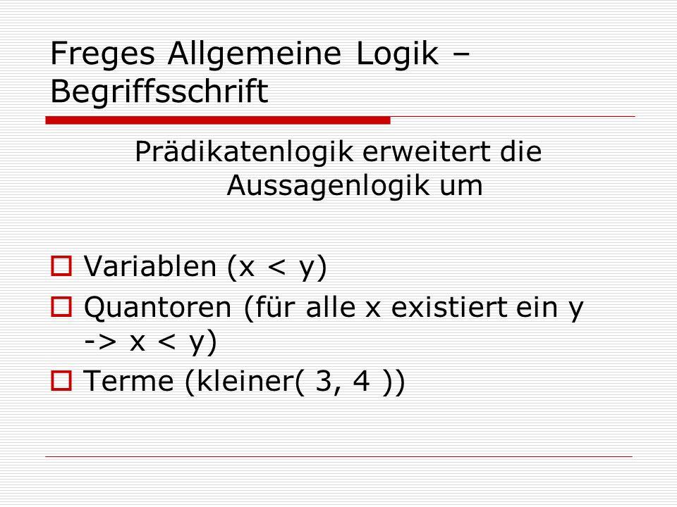 Freges Allgemeine Logik – Begriffsschrift Prädikatenlogik erweitert die Aussagenlogik um Variablen (x < y) Quantoren (für alle x existiert ein y -> x
