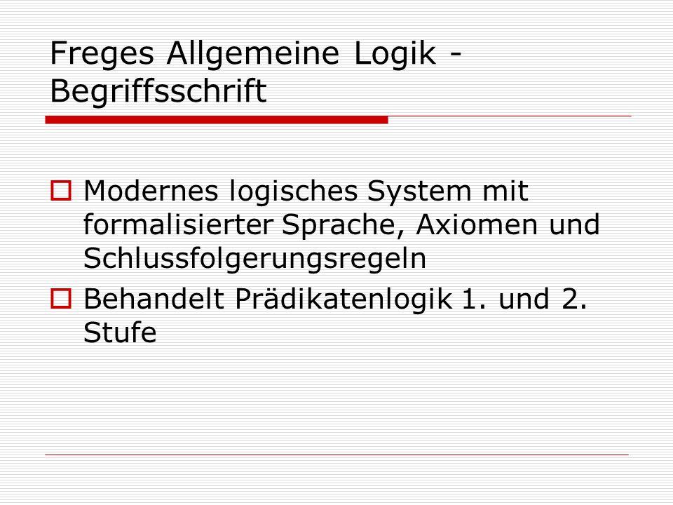 Freges Allgemeine Logik - Begriffsschrift Modernes logisches System mit formalisierter Sprache, Axiomen und Schlussfolgerungsregeln Behandelt Prädikat