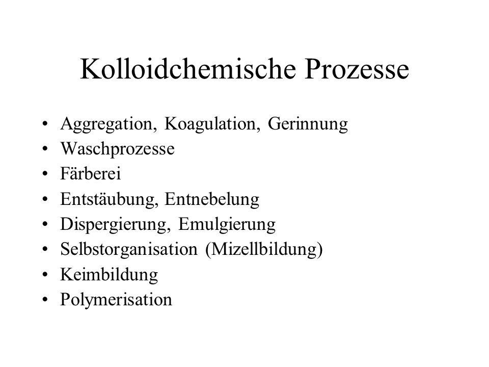 Kolloidchemische Prozesse Aggregation, Koagulation, Gerinnung Waschprozesse Färberei Entstäubung, Entnebelung Dispergierung, Emulgierung Selbstorganisation (Mizellbildung) Keimbildung Polymerisation