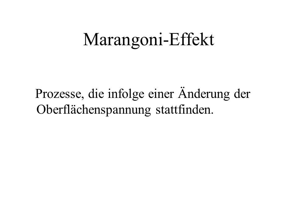 Marangoni-Effekt Prozesse, die infolge einer Änderung der Oberflächenspannung stattfinden.