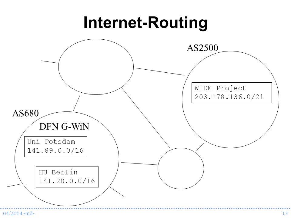 04/2004 -md-13 Internet-Routing Uni Potsdam 141.89.0.0/16 HU Berlin 141.20.0.0/16 DFN G-WiN AS680 WIDE Project 203.178.136.0/21 AS2500