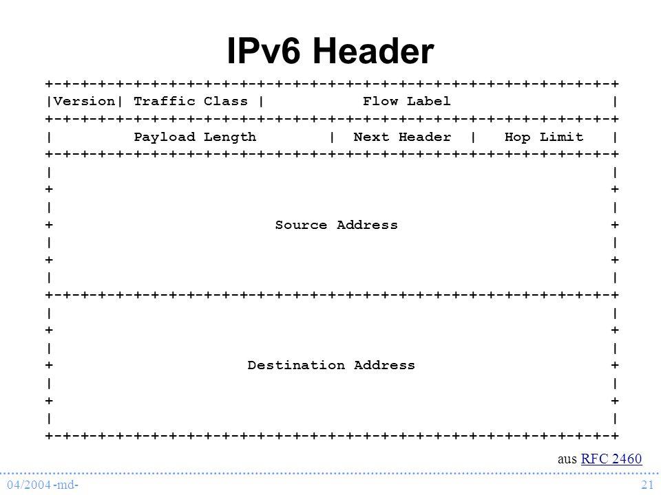 04/2004 -md-21 IPv6 Header +-+-+-+-+-+-+-+-+-+-+-+-+-+-+-+-+-+-+-+-+-+-+-+-+-+-+-+-+-+-+-+-+ |Version| Traffic Class | Flow Label | +-+-+-+-+-+-+-+-+-