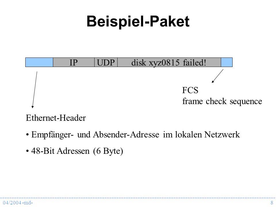 04/2004 -md-8 Beispiel-Paket IPUDPdisk xyz0815 failed! FCS frame check sequence Ethernet-Header Empfänger- und Absender-Adresse im lokalen Netzwerk 48