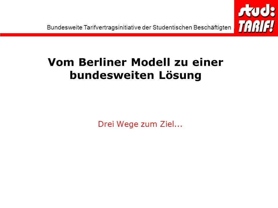 Bundesweite Tarifvertragsinitiative der Studentischen Beschäftigten Vom Berliner Modell zu einer bundesweiten Lösung Drei Wege zum Ziel...