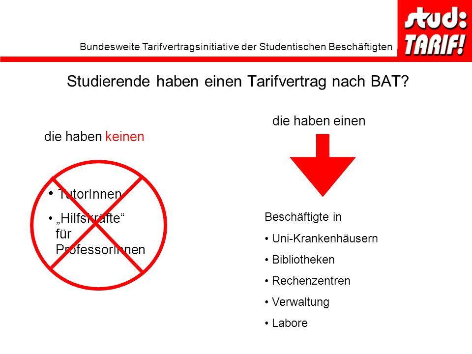 Bundesweite Tarifvertragsinitiative der Studentischen Beschäftigten Studierende haben einen Tarifvertrag nach BAT.