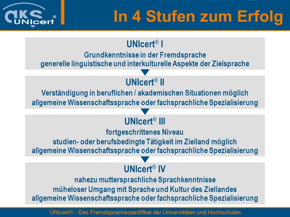 In 4 Stufen zum Erfolg UNIcert ® I Grundkenntnisse in der Fremdsprache generelle linguistische und interkulturelle Aspekte der Zielsprache UNIcert ® I