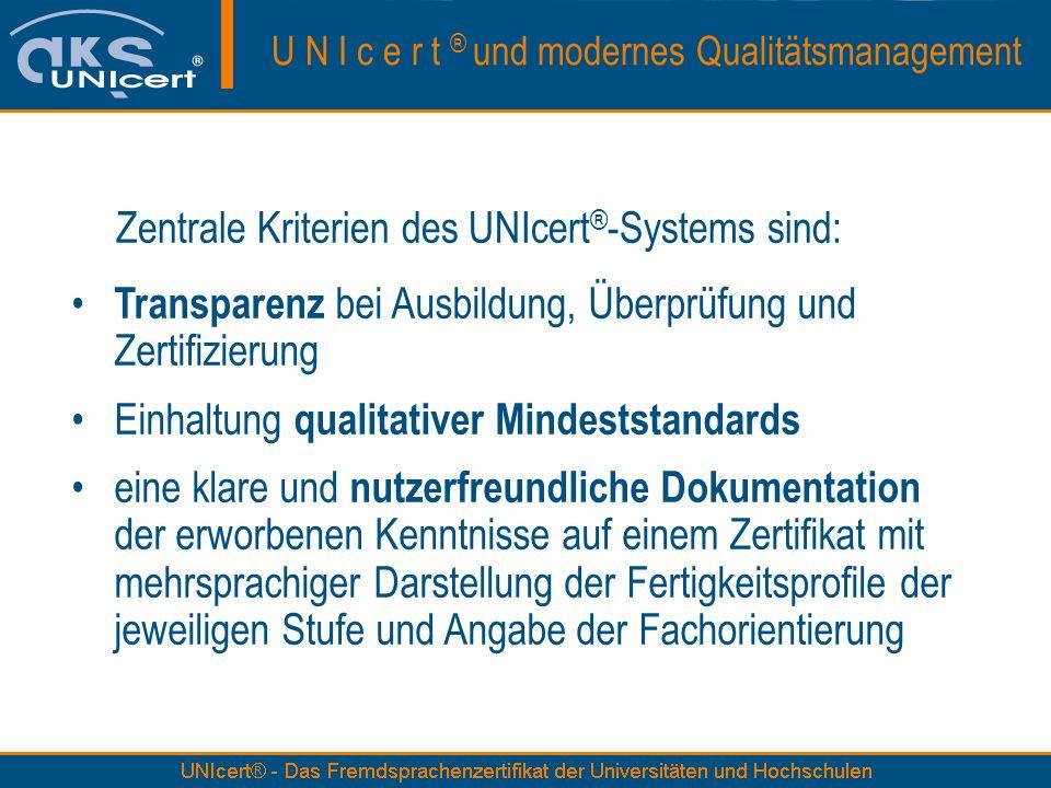 Transparenz bei Ausbildung, Überprüfung und Zertifizierung Einhaltung qualitativer Mindeststandards eine klare und nutzerfreundliche Dokumentation der