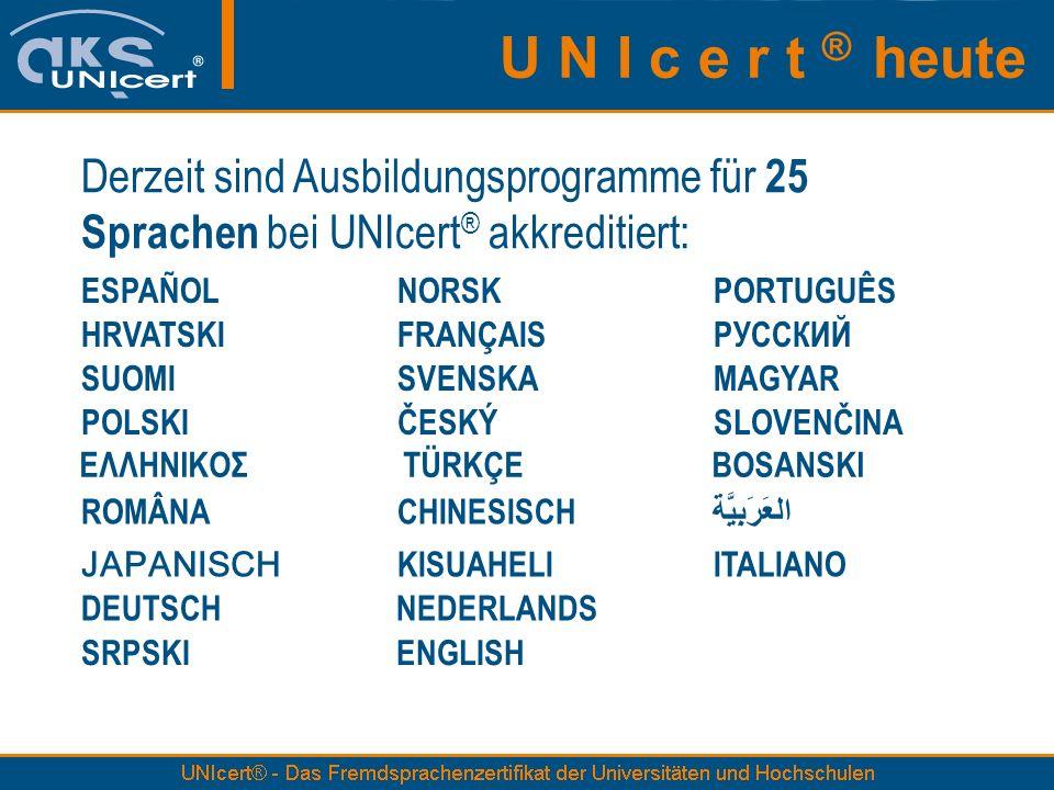 Derzeit sind Ausbildungsprogramme für 25 Sprachen bei UNIcert ® akkreditiert: ESPAÑOLNORSKPORTUGUÊS HRVATSKIFRANÇAISРУССКИЙ SUOMISVENSKAMAGYAR POLSKIČ