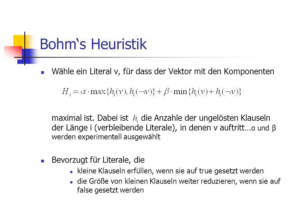 Bohms Heuristik Wähle ein Literal v, für dass der Vektor mit den Komponenten maximal ist. Dabei ist die Anzahle der ungelösten Klauseln der Länge i (v