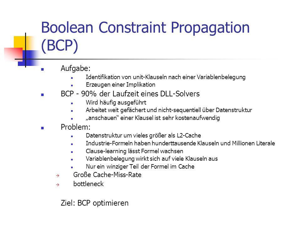 Boolean Constraint Propagation (BCP) Aufgabe: Identifikation von unit-Klauseln nach einer Variablenbelegung Erzeugen einer Implikation BCP - 90% der L