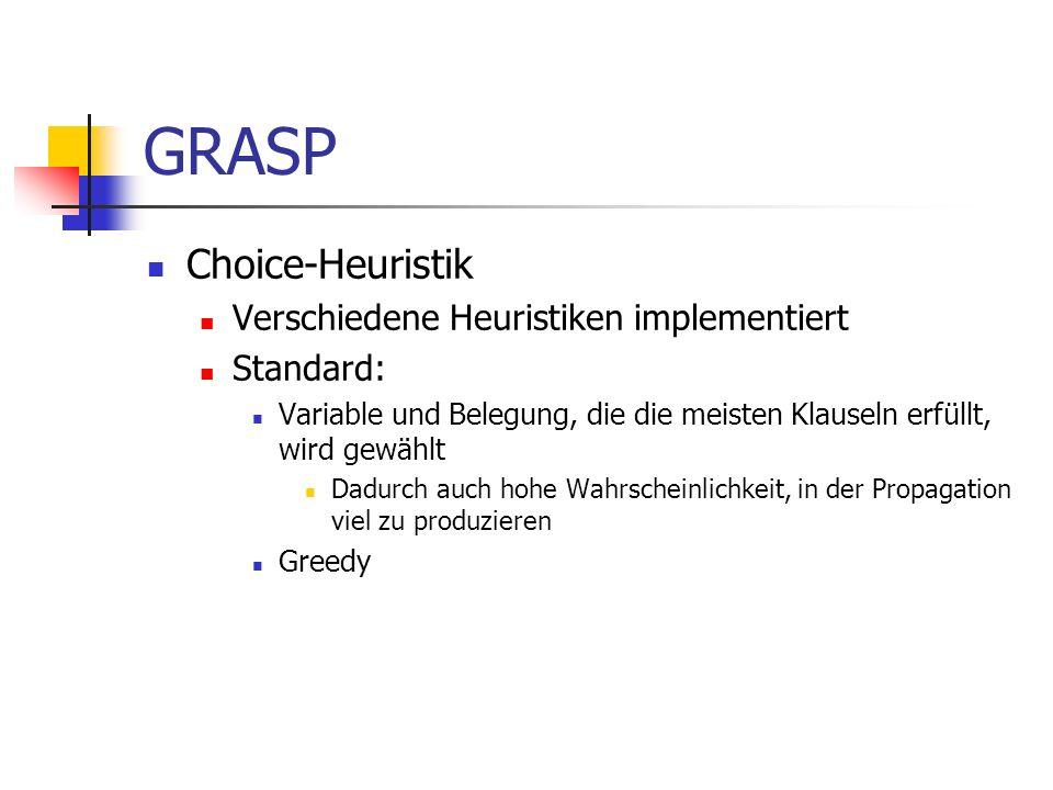 GRASP Choice-Heuristik Verschiedene Heuristiken implementiert Standard: Variable und Belegung, die die meisten Klauseln erfüllt, wird gewählt Dadurch