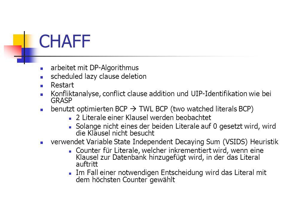 CHAFF arbeitet mit DP-Algorithmus scheduled lazy clause deletion Restart Konfliktanalyse, conflict clause addition und UIP-Identifikation wie bei GRAS