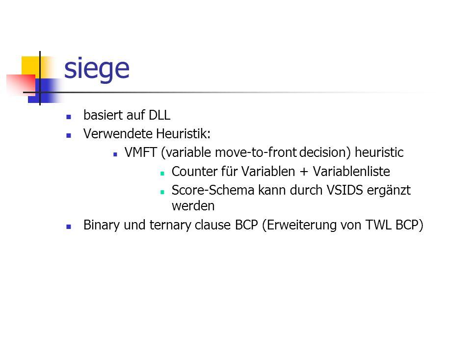 siege basiert auf DLL Verwendete Heuristik: VMFT (variable move-to-front decision) heuristic Counter für Variablen + Variablenliste Score-Schema kann