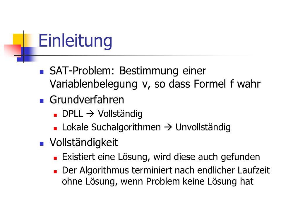 Einleitung SAT-Problem: Bestimmung einer Variablenbelegung v, so dass Formel f wahr Grundverfahren DPLL Vollständig Lokale Suchalgorithmen Unvollständ