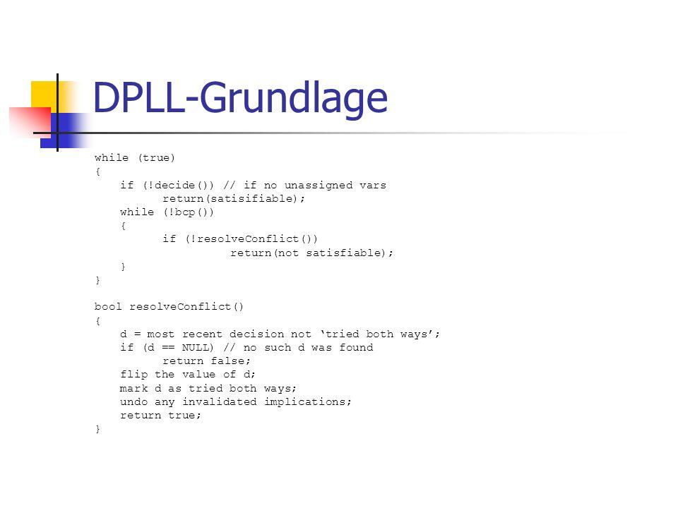 siege basiert auf DLL Verwendete Heuristik: VMFT (variable move-to-front decision) heuristic Counter für Variablen + Variablenliste Score-Schema kann durch VSIDS ergänzt werden Binary und ternary clause BCP (Erweiterung von TWL BCP)