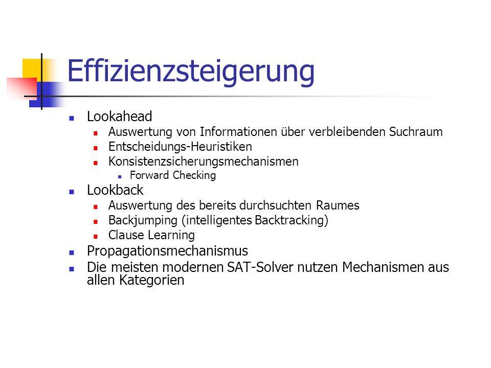 Effizienzsteigerung Lookahead Auswertung von Informationen über verbleibenden Suchraum Entscheidungs-Heuristiken Konsistenzsicherungsmechanismen Forwa