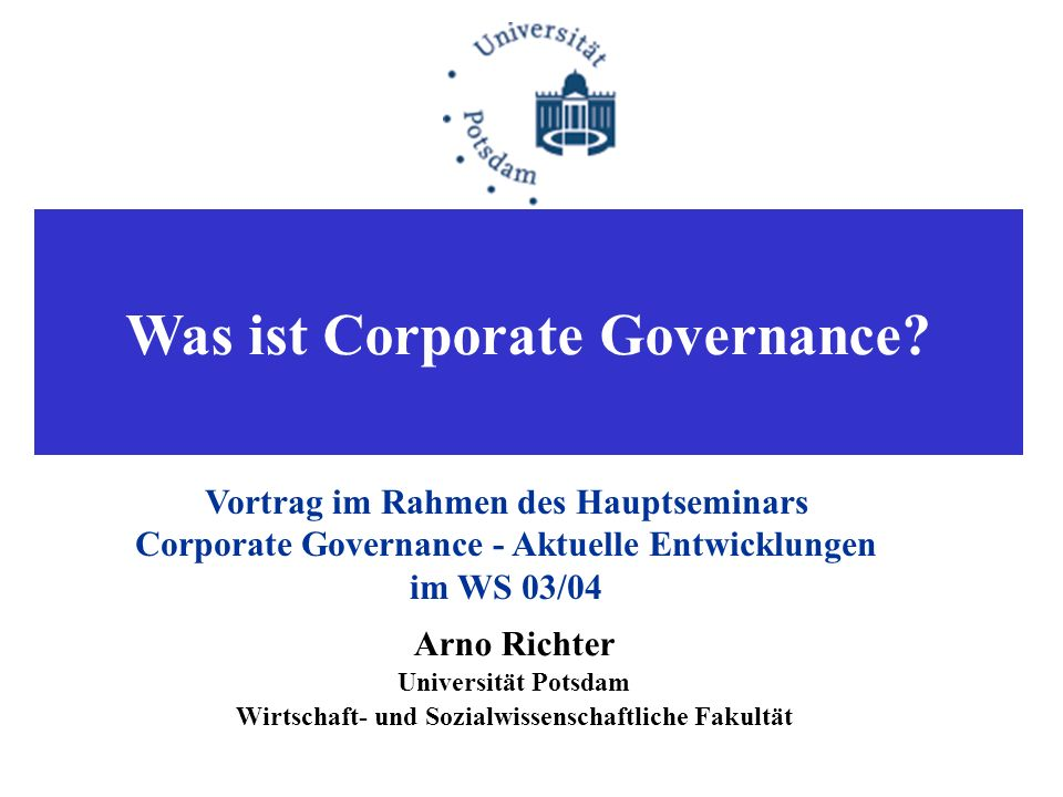 Was ist Corporate Governance.