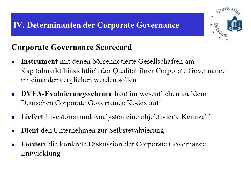 IV. Determinanten der Corporate Governance Corporate Governance Scorecard Instrument mit denen börsennotierte Gesellschaften am Kapitalmarkt hinsichtl