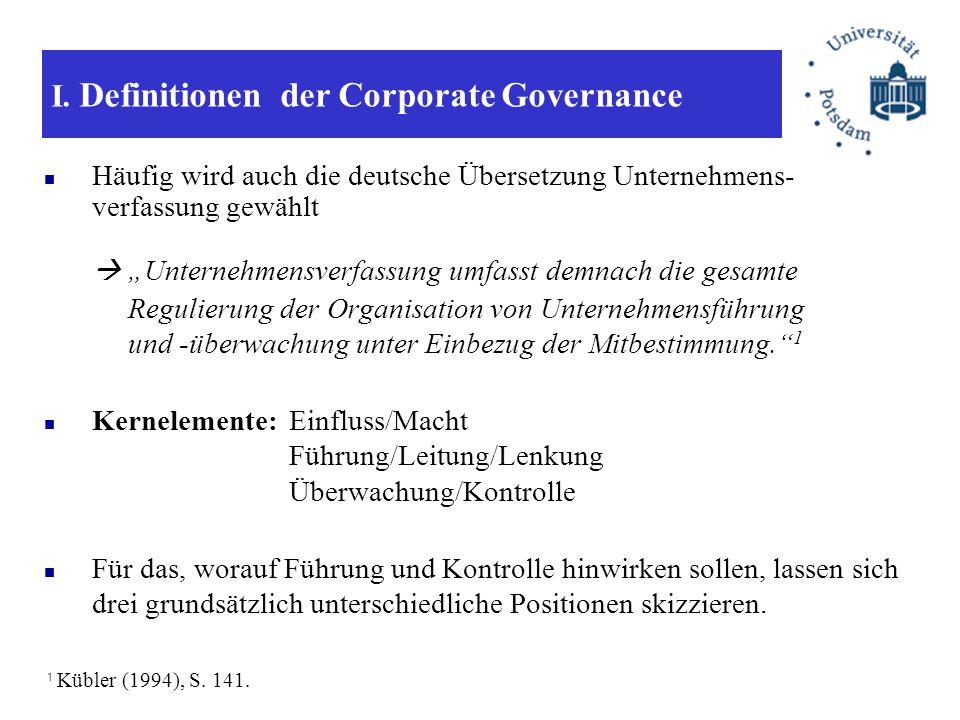 I. Definitionen der Corporate Governance Häufig wird auch die deutsche Übersetzung Unternehmens- verfassung gewählt Unternehmensverfassung umfasst dem