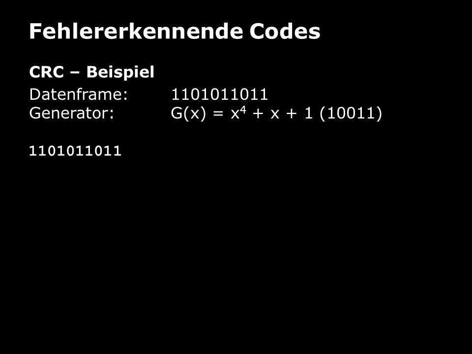 Fehlererkennende Codes CRC – Beispiel Datenframe: 1101011011 Generator:G(x) = x 4 + x + 1 (10011) 1101011011
