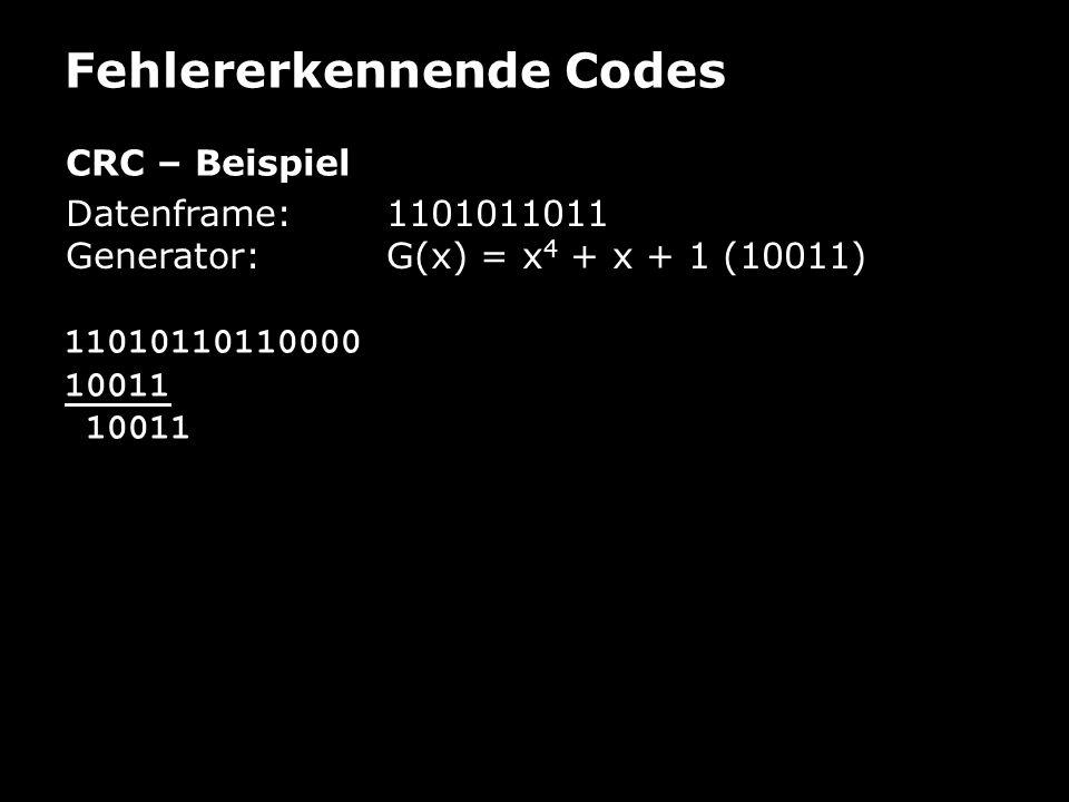 Fehlererkennende Codes CRC – Beispiel Datenframe: 1101011011 Generator:G(x) = x 4 + x + 1 (10011) 11010110110000 10011