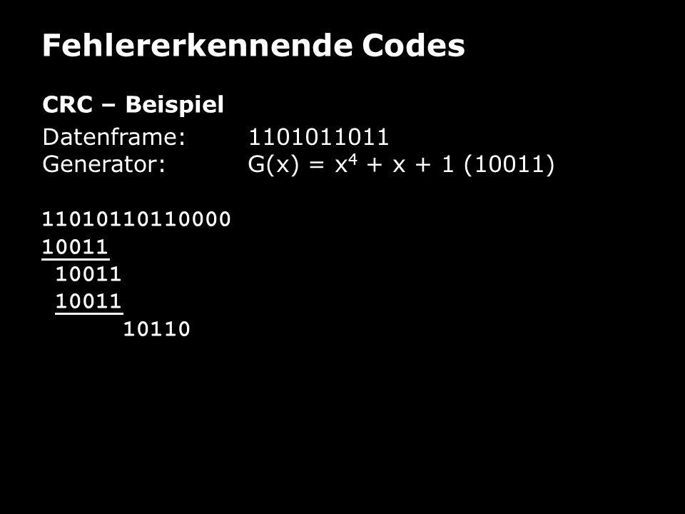 Fehlererkennende Codes CRC – Beispiel Datenframe: 1101011011 Generator:G(x) = x 4 + x + 1 (10011) 11010110110000 10011 10110