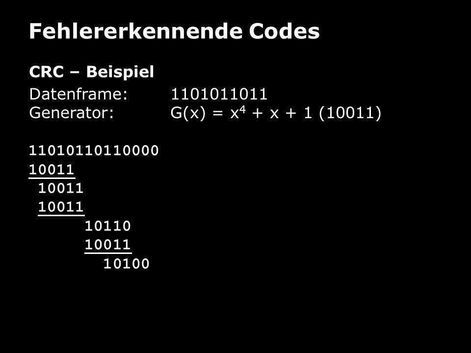 Fehlererkennende Codes CRC – Beispiel Datenframe: 1101011011 Generator:G(x) = x 4 + x + 1 (10011) 11010110110000 10011 10110 10011 10100