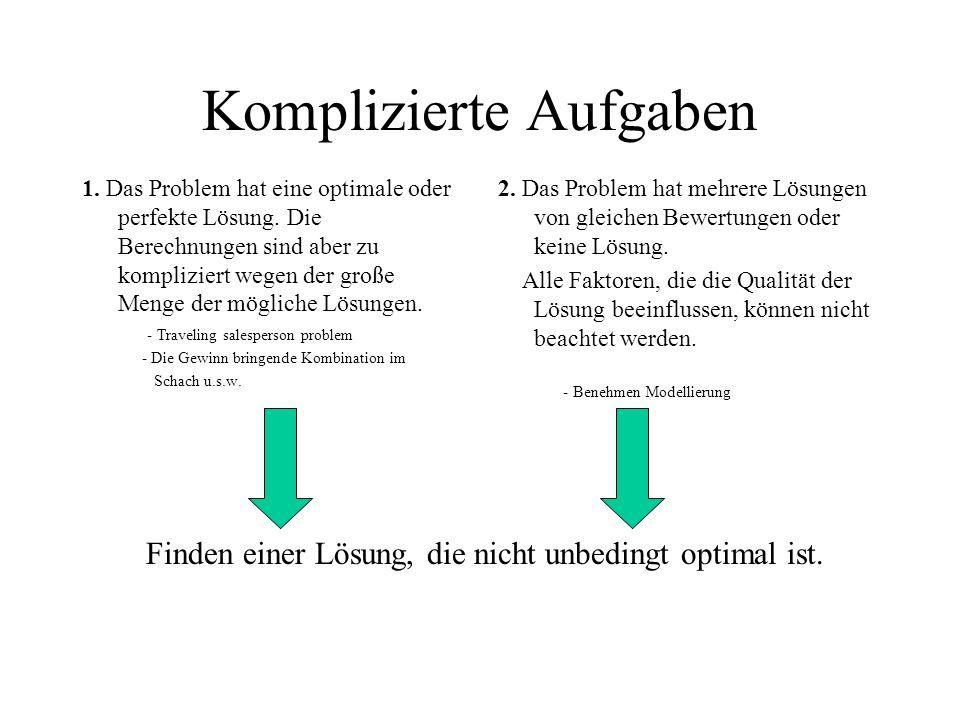 Komplizierte Aufgaben 1. Das Problem hat eine optimale oder perfekte Lösung. Die Berechnungen sind aber zu kompliziert wegen der große Menge der mögli