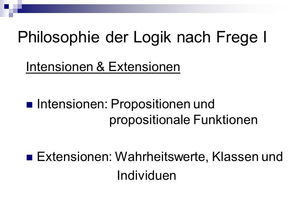 Philosophie der Logik nach Frege I Intensionen & Extensionen Intensionen: Propositionen und propositionale Funktionen Extensionen: Wahrheitswerte, Kla