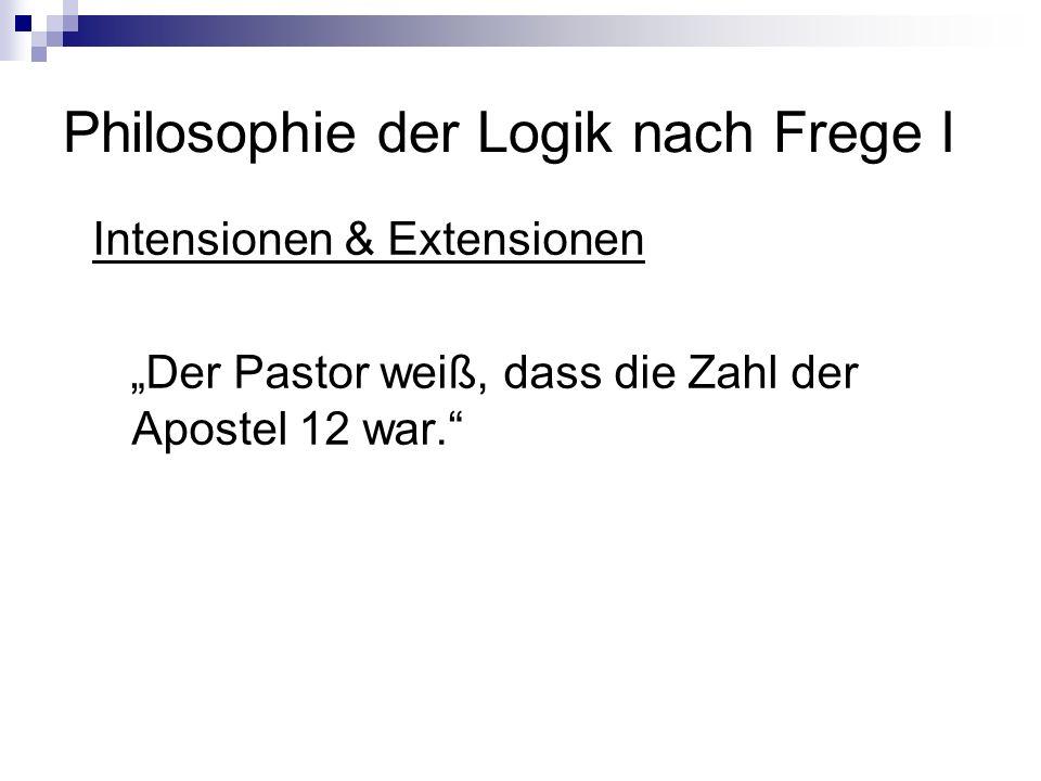 Philosophie der Logik nach Frege I Intensionen & Extensionen Der Pastor weiß, dass die Zahl der Apostel 12 war.