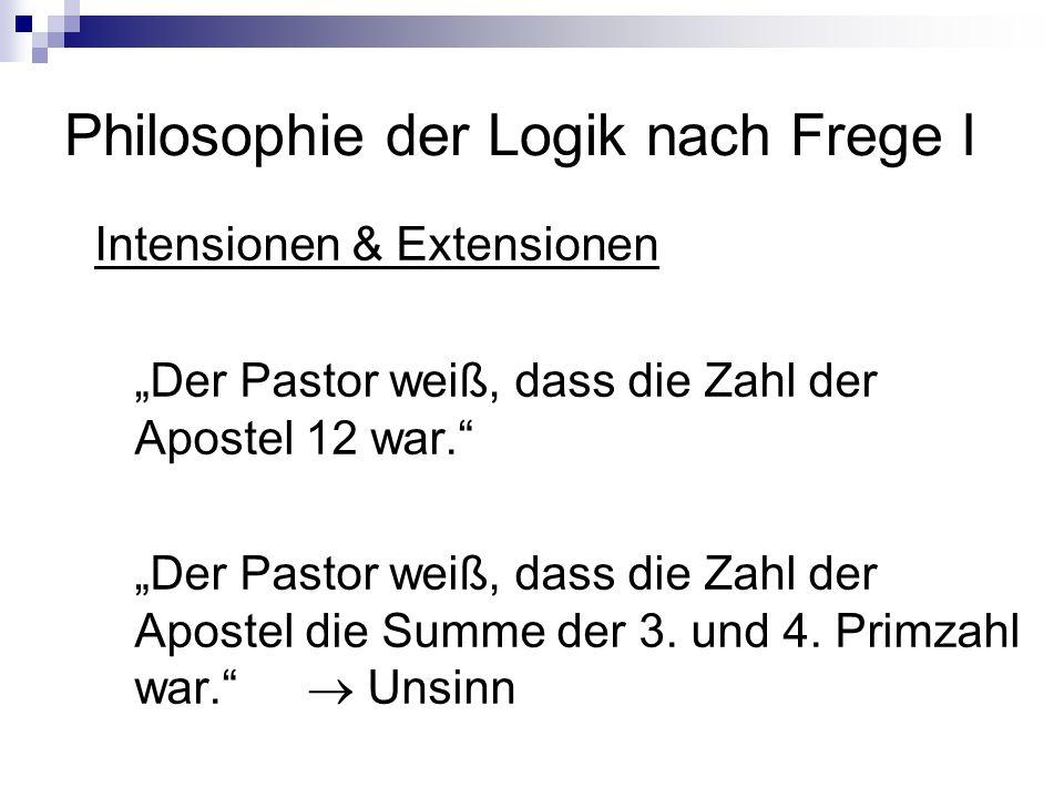 Philosophie der Logik nach Frege I Intensionen & Extensionen Der Pastor weiß, dass die Zahl der Apostel 12 war. Der Pastor weiß, dass die Zahl der Apo