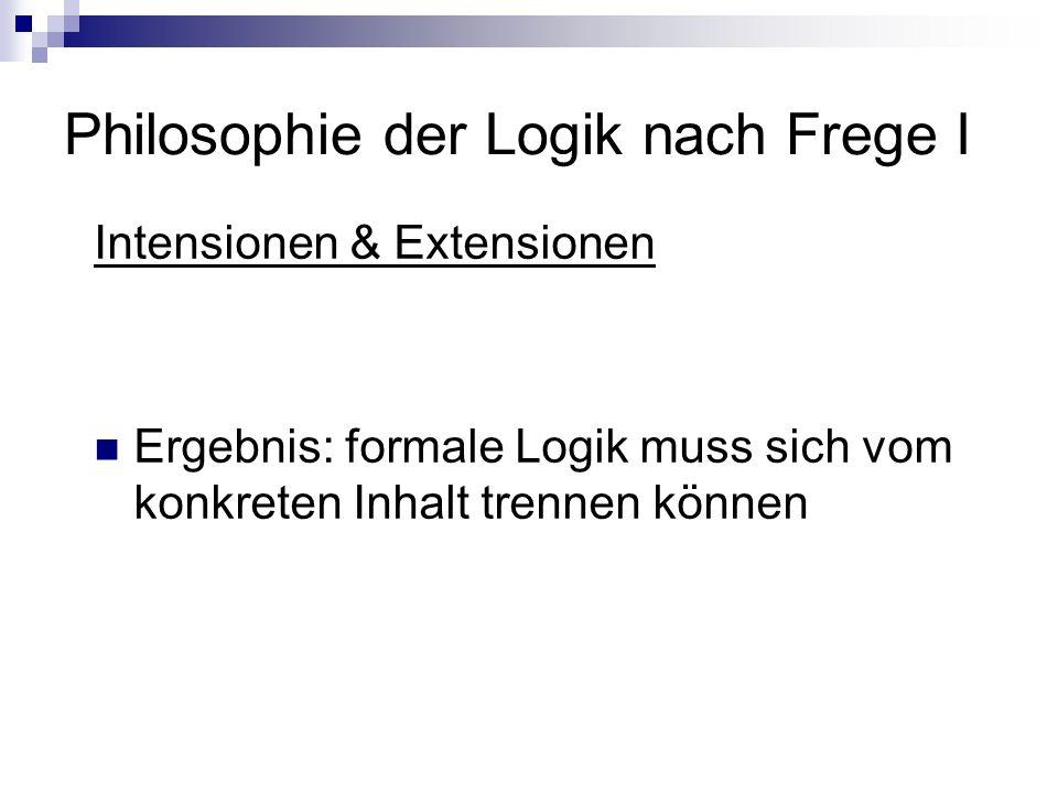 Philosophie der Logik nach Frege I Intensionen & Extensionen Ergebnis: formale Logik muss sich vom konkreten Inhalt trennen können