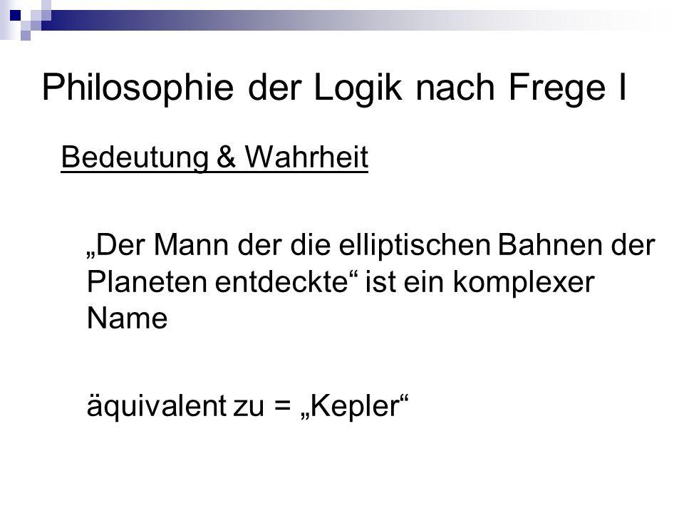 Philosophie der Logik nach Frege I Bedeutung & Wahrheit Der Mann der die elliptischen Bahnen der Planeten entdeckte ist ein komplexer Name äquivalent