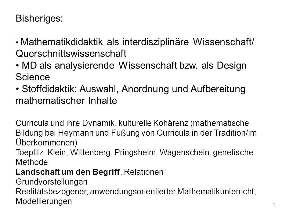 1 Bisheriges: Mathematikdidaktik als interdisziplinäre Wissenschaft/ Querschnittswissenschaft MD als analysierende Wissenschaft bzw. als Design Scienc
