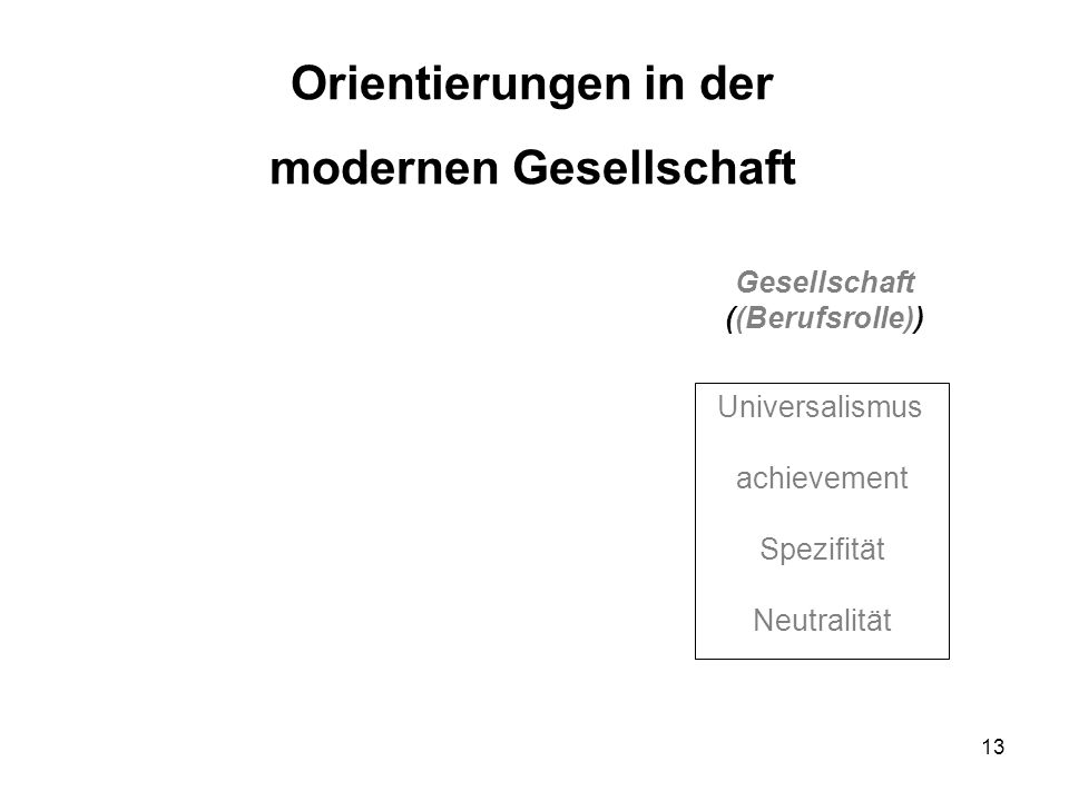 13 Universalismus achievement Spezifität Neutralität Gesellschaft ((Berufsrolle)) Orientierungen in der modernen Gesellschaft