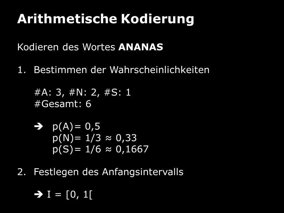 Arithmetische Kodierung Kodieren des Wortes ANANAS 1.Bestimmen der Wahrscheinlichkeiten #A: 3, #N: 2, #S: 1 #Gesamt: 6 p(A)= 0,5 p(N)= 1/3 0,33 p(S)= 1/6 0,1667 2.Festlegen des Anfangsintervalls I = [0, 1[