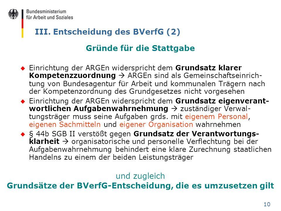 10 III. Entscheidung des BVerfG (2) Gründe für die Stattgabe u Einrichtung der ARGEn widerspricht dem Grundsatz klarer Kompetenzzuordnung ARGEn sind a