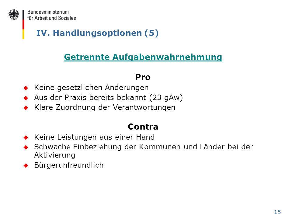 15 IV. Handlungsoptionen (5) Getrennte Aufgabenwahrnehmung Pro u Keine gesetzlichen Änderungen u Aus der Praxis bereits bekannt (23 gAw) u Klare Zuord