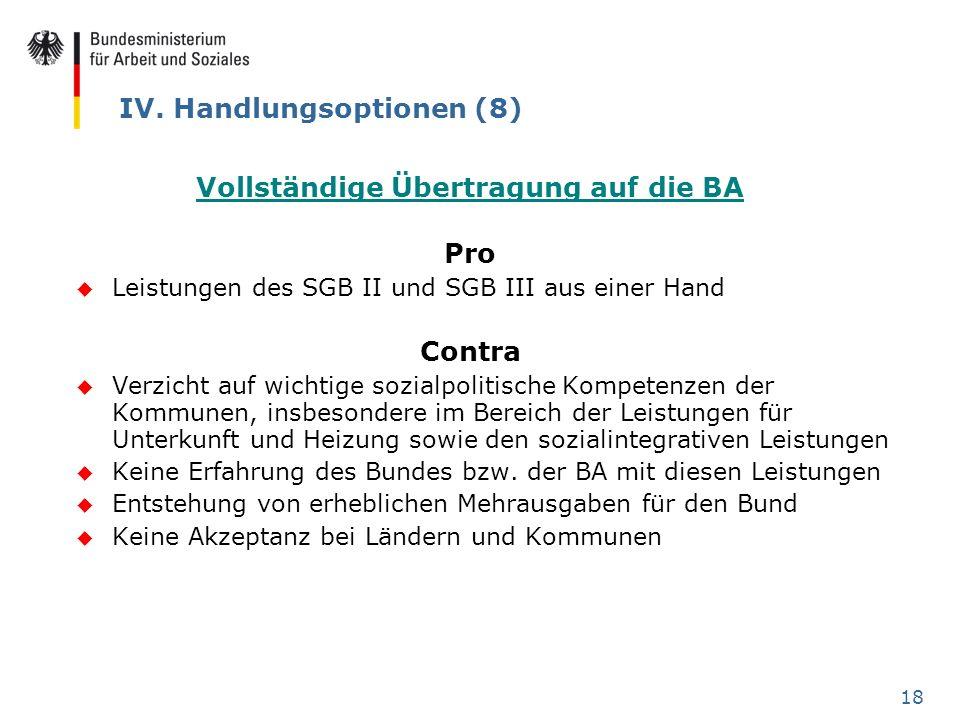 18 IV. Handlungsoptionen (8) Vollständige Übertragung auf die BA Pro u Leistungen des SGB II und SGB III aus einer Hand Contra u Verzicht auf wichtige