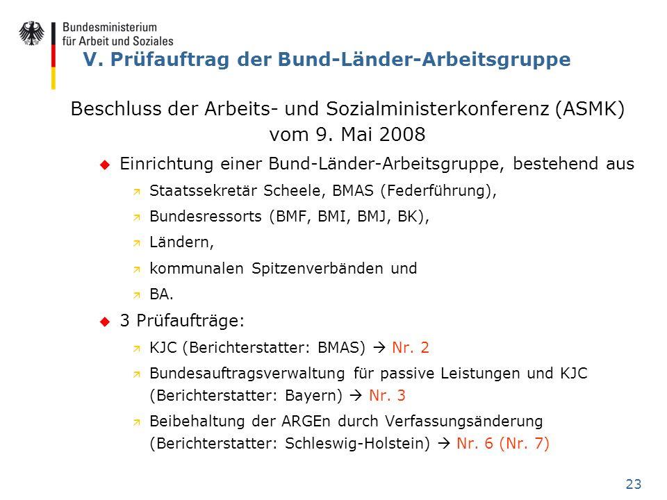 23 V. Prüfauftrag der Bund-Länder-Arbeitsgruppe Beschluss der Arbeits- und Sozialministerkonferenz (ASMK) vom 9. Mai 2008 u Einrichtung einer Bund-Län