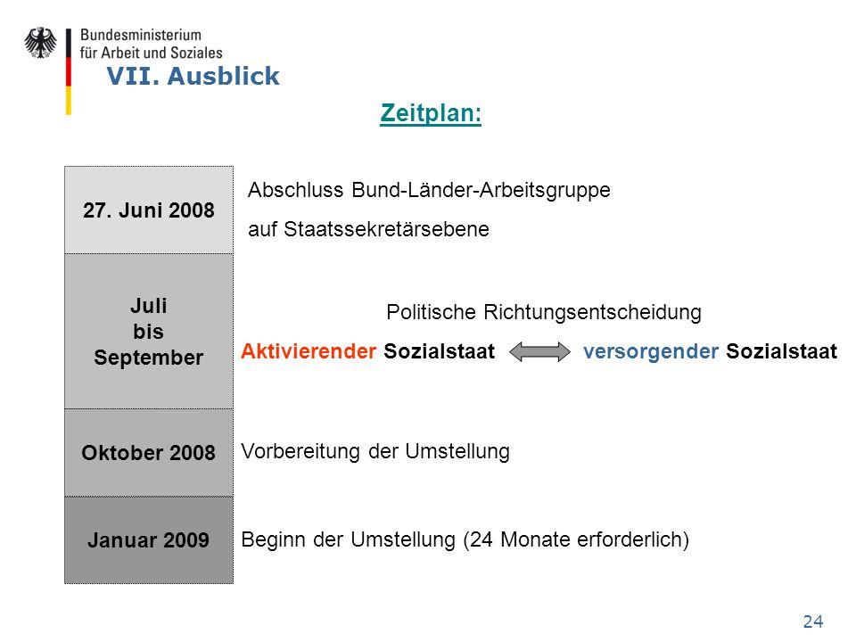 24 VII. Ausblick 27. Juni 2008 Juli bis September Oktober 2008 Januar 2009 Zeitplan: Abschluss Bund-Länder-Arbeitsgruppe auf Staatssekretärsebene Poli