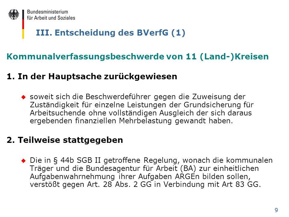 9 III. Entscheidung des BVerfG (1) Kommunalverfassungsbeschwerde von 11 (Land-)Kreisen 1. In der Hauptsache zurückgewiesen u soweit sich die Beschwerd