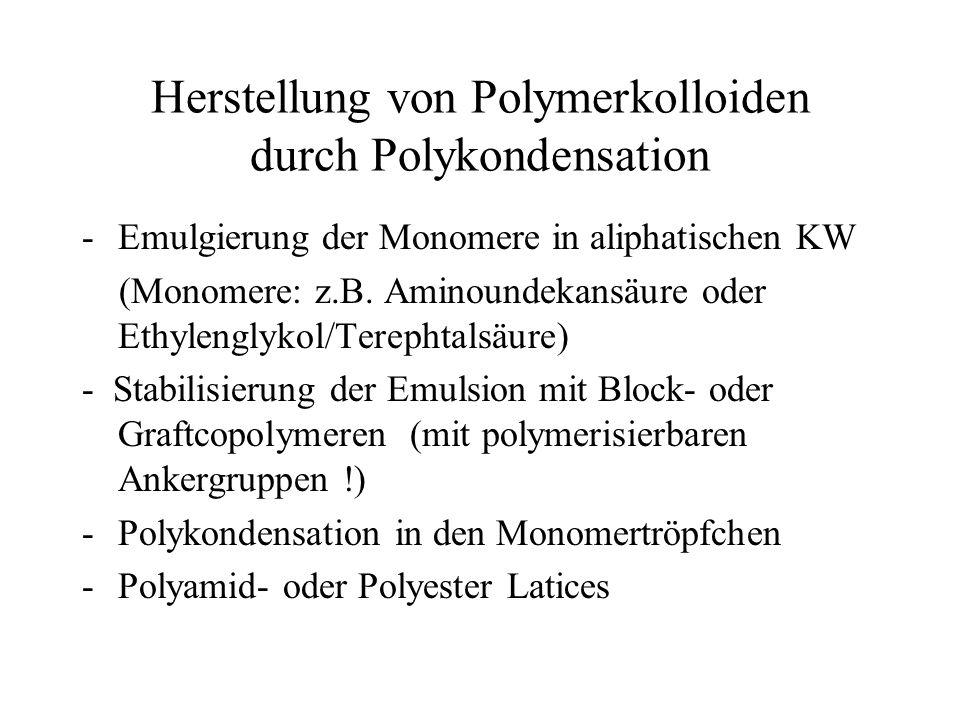 Herstellung von Polymerkolloiden durch Polykondensation -Emulgierung der Monomere in aliphatischen KW (Monomere: z.B. Aminoundekansäure oder Ethylengl