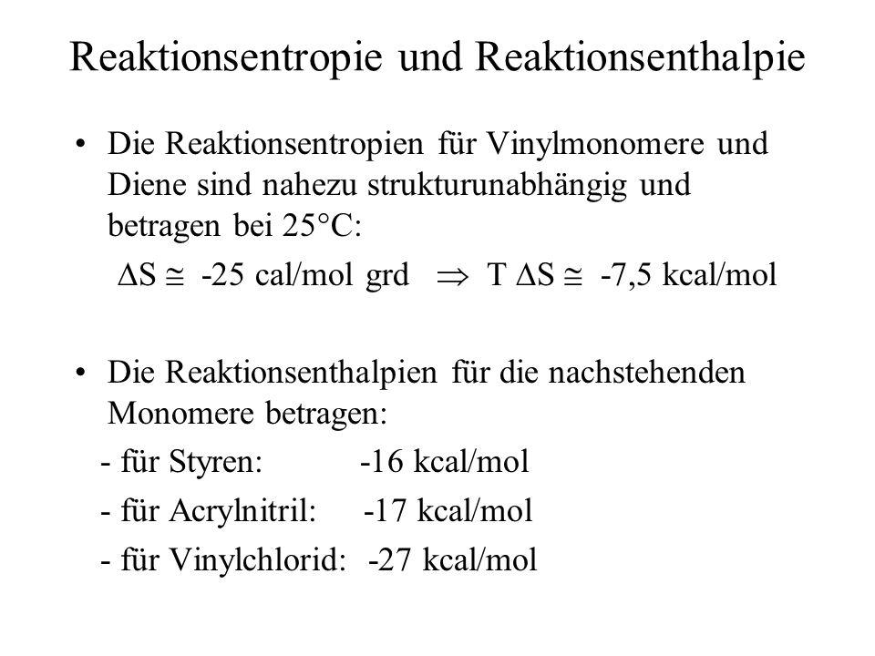 Reaktionsentropie und Reaktionsenthalpie Die Reaktionsentropien für Vinylmonomere und Diene sind nahezu strukturunabhängig und betragen bei 25°C: S -2